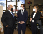 """Israeli Prime Minister Benjamin Netanyahu, left, visits a fitness gym with Austrian Chancellor Sebastian Kurz, center, and Danish Prime Minister Mette Frederiksen, to observe how the """"Green Pass,"""" for citizens vaccinated against COVID-19, is used, in Modi'in, Israel, Thursday, March 4, 2021. Frederiksen and Kurz are on a short visit to Israel for to pursue the possibilities for closer cooperation on COVID-19 and vaccines. (Avigail Uzi/Pool via AP)"""