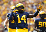 Michigan defensive back Josh Metellus celebrates an interception against Nebraska in the first half of an NCAA football game in Ann Arbor, Mich., Saturday, Sept. 22, 2018. (AP Photo/Paul Sancya)