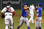 New York Mets' J.D. Davis (28) celebrates his two-run home run off Boston Red Sox's Austin Brice (31) that also drove in Jeff McNeil (6) during the fifth inning of a baseball game, Tuesday, July 28, 2020, in Boston. (AP Photo/Michael Dwyer)