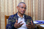 """In this image from video, Tigray's regional president Debretsion Gebremichael speaks during an interview in Mekele, in the Tigray region of northern Ethiopia on Wednesday, July 7, 2021. """"The fighting will not be limited simply to the Tigray borders"""" if needed, Gebremichael, says. """"We have to have some guarantee that they will not come back again."""" (AP Photo)"""