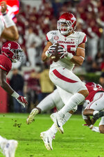 Arkansas tight end Cheyenne O'Grady (85) grabs a pass against Alabama during the first half of an NCAA college football game, Saturday, Oct. 26, 2019, in Tuscaloosa, Ala. (AP Photo/Vasha Hunt)