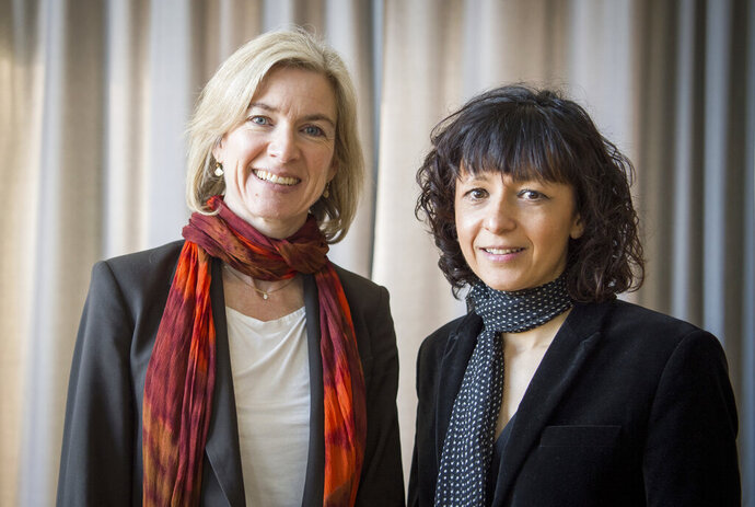 FILE -- In this March 14, 2016 file photo American biochemist Jennifer A. Doudna, left, and the French microbiologist Emmanuelle Charpentier, right, poses for a photo in Frankfurt, Germany. French scientist Emmanuelle Charpentier and American Jennifer A. Doudna have won the Nobel Prize 2020 in chemistry for developing a method of genome editing likened to 'molecular scissors' that offer the promise of one day curing genetic diseases. (Alexander Heinl/dpa via AP)