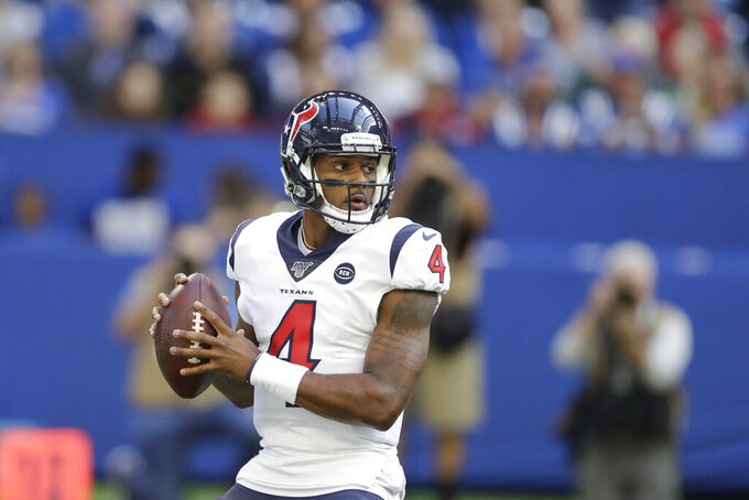 Houston Texans quarterback Deshaun Watson (4) looks to throws during the first half of an NFL football game against the Indianapolis Colts, Sunday, Oct. 20, 2019, in Indianapolis. (AP Photo/Darron Cummings)