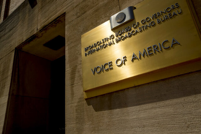 FILE - This June 15, 2020, file photo shows the Voice of America building in Washington. More than a dozen journalists with the U.S. government's premier international broadcaster, Voice of America, may soon have to leave the United States as their visas expire with no action from the agency's new leadership. (AP Photo/Andrew Harnik, File)