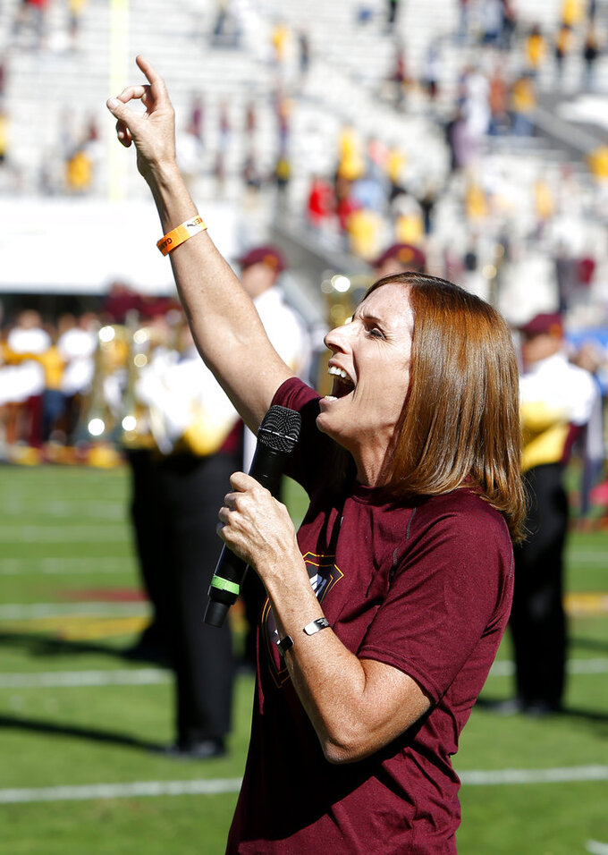 U.S. Rep. Martha McSally, R-Ariz. sings the national anthem before an NCAA college football game between Arizona State and Utah, Saturday, Nov 3, 2018, in Tempe, Ariz. (AP Photo/Rick Scuteri)