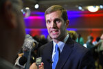 Kentucky Attorney General and Democratic candidate for Governor Andy Beshear speaks with reporters following a gubernatorial debate in Paducah, Ky., Thursday, Oct. 3, 2019. (AP Photo/Timothy D. Easley)