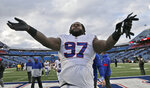 Buffalo Bills defensive tackle Jordan Phillips celebrates after the team defeated the Washington Redskins in an NFL football game, Sunday, Nov. 3, 2019, in Orchard Park, N.Y. (AP Photo/John Munson)