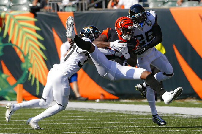 Cincinnati Bengals wide receiver Auden Tate (19) catches a pass against Jacksonville Jaguars defensive back Jarrod Wilson (26) in the second half of an NFL football game, Sunday, Oct. 20, 2019, in Cincinnati. (AP Photo/Gary Landers)