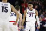 Gonzaga forward Rui Hachimura (21) celebrates his basket with forward Corey Kispert (24) during the first half of an NCAA college basketball game against Saint Mary's in Spokane, Wash., Saturday, Feb. 9, 2019. (AP Photo/Young Kwak)