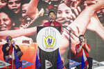 In this photo provided by the Manny Pacquiao MediaComms, Senator Manny Pacquiao, center, speaks during a national convention of his PDP-Laban party in Quezon city, Philippines on Sunday Sept. 19, 2021. Philippine boxing icon and senator Manny Pacquiao says he will run for president in the 2022 elections. (Manny Pacquiao MediaComms via AP)