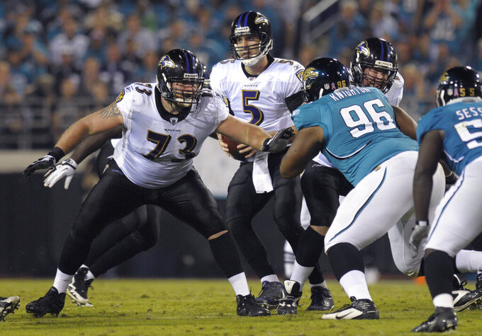 FILE -  In this Monday, Oct. 24, 2011, file photo, Baltimore Ravens offensive guard Marshal Yanda (73), left, blocks against Jacksonville Jaguars defensive tackle Terrance Knighton (96) during an NFL football game in Jacksonville, Fla. Baltimore's offensive line lacks depth, which means injuries to veteran right guard Marshal Yanda and left tackle Ronnie Stanley could be devastating. (AP Photo/Phelan M. Ebenhack, File)