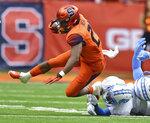 Syracuse running back Moe Neal (21) runs against North Carolina during an NCAA college football game, Saturday, Oct. 20, 2018, in Syracuse, N.Y. (Scott Schild/The Post-Standard via AP)