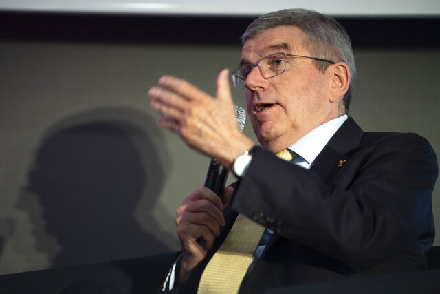 International Olympic Committee, IOC, president Thomas Bach speaks during the opening conference of SportCity, congress du sport suisse, at the SwissTech Convention Centre, in Lausanne, Switzerland, Tuesday, March 10, 2020. (Laurent Gillieron/Keystone via AP)