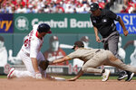 St. Louis Cardinals' Paul Goldschmidt, left, is safe at second for a double ahead of the tag from San Diego Padres second baseman Adam Frazier during the fifth inning of a baseball game Sunday, Sept. 19, 2021, in St. Louis. (AP Photo/Jeff Roberson)