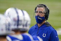 Indianapolis Colts head coach Frank Reich stands on the sideline in the first half of an NFL football game against the Tennessee Titans in Indianapolis, Sunday, Nov. 29, 2020. (AP Photo/Darron Cummings)