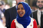 In this Feb. 5, 2019 photo, Rep. Ilhan Omar, D-Minn., arrives for President Donald Trump's State of the Union address to a joint session of Congress on Capitol Hill in Washington. (AP Photo/Carolyn Kaster)