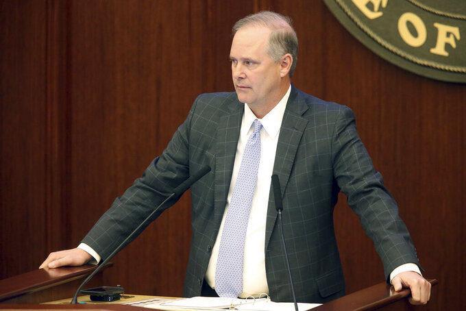 Florida Senate president Wilton Simpson, R-Trilby, listens to bills being read at the start of a special session, Monday, May 17, 2021, in Tallahassee, Fla. (AP Photo/Steve Cannon)