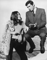 FILE - In this Jan. 10, 1969 file photo, Sean Connery's replacement as James Bond, George Lazenby is pictured with British actress Diana Rigg. The two are captured during takes of