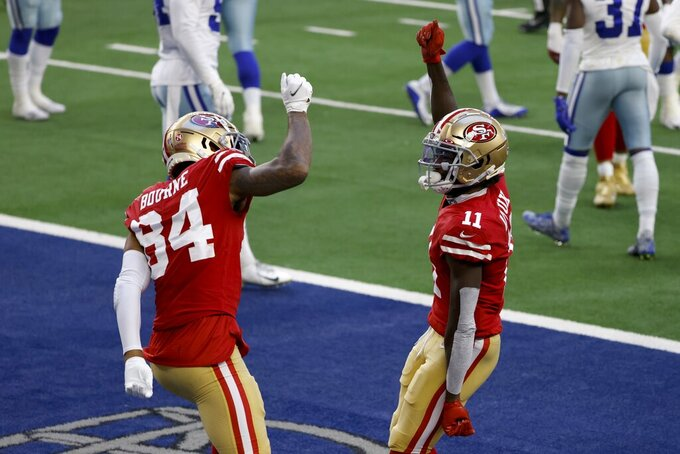 San Francisco 49ers wide receiver Kendrick Bourne (84) and Brandon Aiyuk (11) celebrate Aiyuk's touchdown catch in the first half of an NFL football game against the Dallas Cowboys in Arlington, Texas, Sunday, Dec. 20, 2020. (AP Photo/Ron Jenkins)