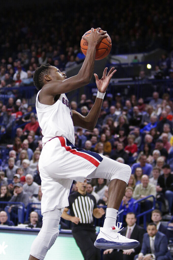Gonzaga guard Joel Ayayi goes up for a layup during the first half of the team's NCAA college basketball game against Santa Clara in Spokane, Wash., Thursday, Jan. 16, 2020. (AP Photo/Young Kwak)