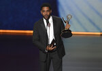 Jharrel Jerome accepts the award for outstanding lead actor in a limited series or movie for