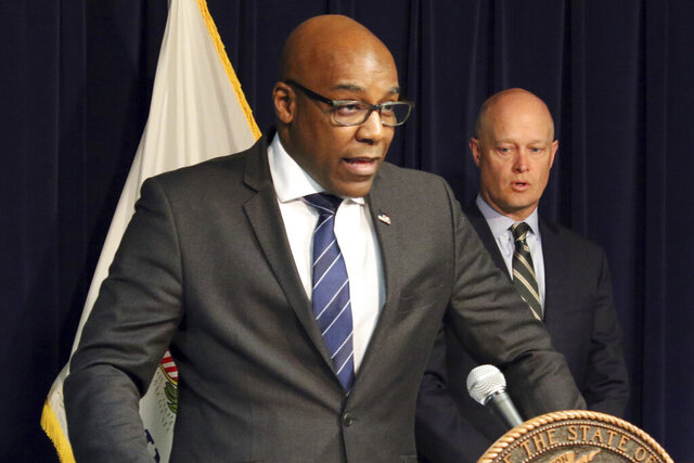 FILE - In this Feb. 11, 2019 file photo, Illinois Attorney General Kwame Raoul speaks during a news conference in Chicago. The Illinois attorney general's office has filed a lawsuit against e-cigarette maker Juice Man, alleging deceptive marketing practices aimed at attracting youth. The lawsuit was filed Thursday, Sept. 10, 2020, in Cook County against the California-based company. (AP Photo/Noreen Nasir, File)