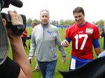 Buffalo Bills rookie quarterback Josh Allen (17) walks with Hall of Fame quarterback Jim Kelly following the team's NFL football rookie minicamp, Friday, May 11, 2018, in Orchard Park, N.Y. (AP Photo/Jeffrey T. Barnes)