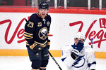 Buffalo Sabres' Sam Reinhart (23) celebrates his goal against the Tampa Bay Lightning during an NHL hockey game in Globen Arena, Stockholm Sweden. Friday. Nov. 8, 2019. (Anders Wiklund/TT via AP)