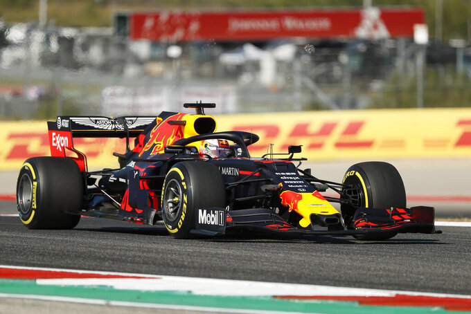 Red Bull driver Max Verstappen, of the Netherlands, steers his car during first practice session for the Formula One U.S. Grand Prix auto race at the Circuit of the Americas, Friday, Nov. 1, 2019, in Austin, Texas. (AP Photo/Eric Gay)