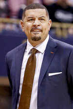 FILE-- In this file photo from Jan. 9, 2019, Pittsburgh head coach Jeff Capel watches as his team plays against Louisville during an NCAA college basketball game in Pittsburgh. Capel's first season at Pittsburgh brought optimism. Now comes the hard part: building off it while playing in arguably the nation's toughest conference.(AP Photo/Keith Srakocic, File)