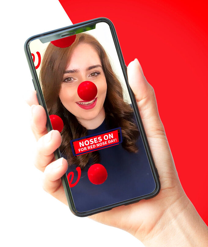 This undated photo provided by Comic Relief's Red Nose Day shows the virtual Red Nose that donors can purchase to show their support of the Red Nose Day campaign. (Red Nose Day via AP)