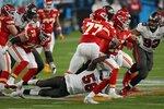 Tampa Bay Buccaneers outside linebacker Shaquil Barrett sacks Kansas City Chiefs quarterback Patrick Mahomes during the second half of the NFL Super Bowl 55 football game Sunday, Feb. 7, 2021, in Tampa, Fla. (AP Photo/David J. Phillip)