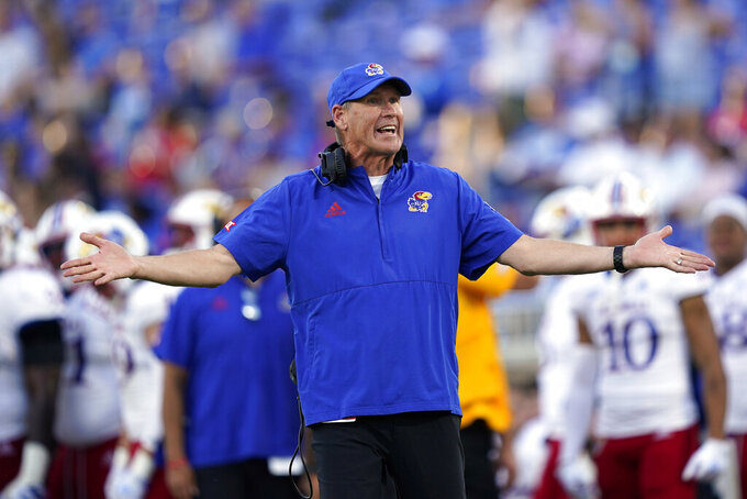 Kansas head coach Lance Leipold reacts during the second half of an NCAA college football game against Duke in Durham, N.C., Saturday, Sept. 25, 2021. (AP Photo/Gerry Broome)