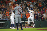 Detroit Tigers pitcher Jordan Zimmerman (27) waits for the ball as Houston Astro Alex Bregman rounds third base after his two-run home run in the fourth inning of a baseball game Thursday, Aug. 22, 2019, in Houston. (AP Photo/Richard Carson)