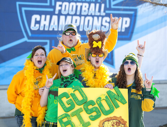 North Dakota State fans cheer outside Toyota Stadium before the FCS championship NCAA college football game against Eastern Washington, Saturday, Jan. 5, 2019, in Frisco, Texas. (AP Photo/Jeffrey McWhorter)