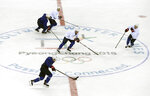 Members of the United States men's hockey team practice ahead of the 2018 Winter Olympics in Gangneung, South Korea, Friday, Feb. 9, 2018. (AP Photo/Kiichiro Sato)