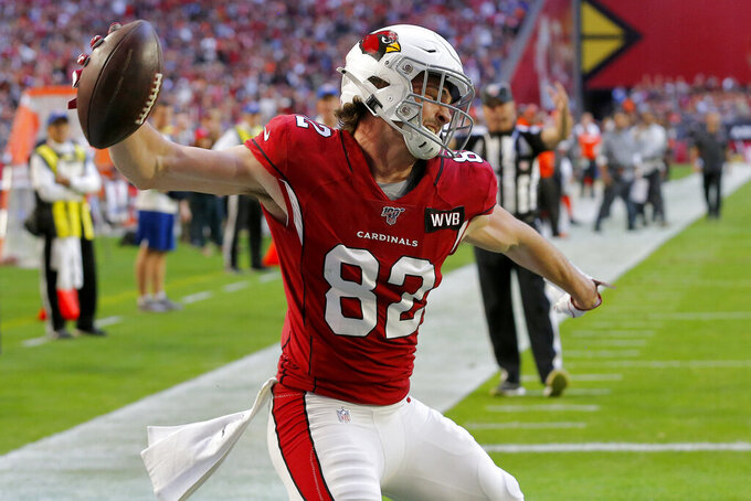 Arizona Cardinals tight end Charles Clay (85) celebrates his touchdown catch against the Cleveland Browns during the first half of an NFL football game, Sunday, Dec. 15, 2019, in Glendale, Ariz. (AP Photo/Rick Scuteri)