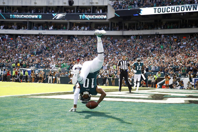 Philadelphia Eagles' DeSean Jackson celebrates after scoring a touchdown during the second half of an NFL football game against the Washington Redskins, Sunday, Sept. 8, 2019, in Philadelphia. (AP Photo/Matt Rourke)