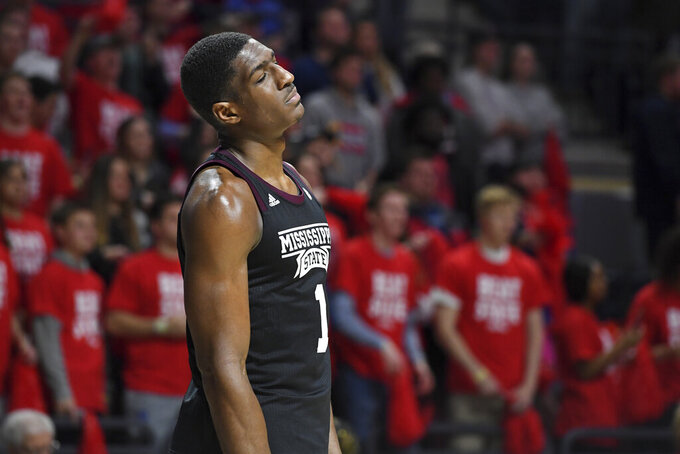 Mississippi State forward Reggie Perry (1) reacts during the second half of an NCAA college basketball game against Mississippi in Oxford, Miss., Tuesday, Feb. 11, 2020. Mississippi won 83-58. (AP Photo/Thomas Graning)