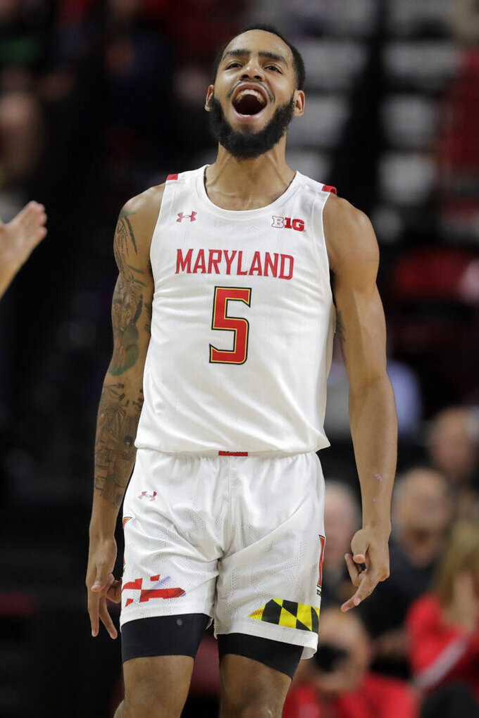 Maryland guard Eric Ayala reacts after scoring a shot against Holy Cross during the second half of an NCAA college basketball game, Tuesday, Nov. 5, 2019, in College Park, Md. Maryland won 95-71. (AP Photo/Julio Cortez)