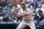 Boston Red Sox's Xander Bogaerts watches a called third strike go past during his at-bat against the Seattle Mariners in the sixth inning of a baseball game Wednesday, Sept. 15, 2021, in Seattle. (AP Photo/Elaine Thompson)