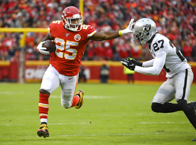 Chiefs missing rushing power for key game at New England