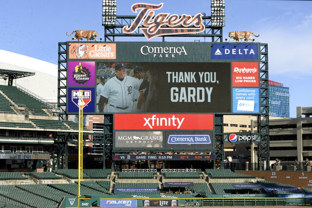 A Comerica Park videoboard displays a thank you message to Detroit Tigers manager Ron Gardenhire, who announced his retirement prior to a baseball game against the Cleveland Indians, Saturday, Sept. 19, 2020, in Detroit. (AP Photo/Jose Juarez)