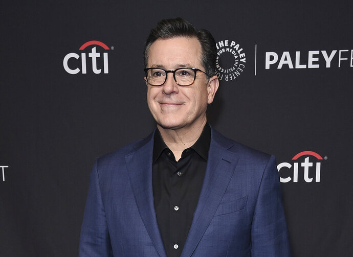 FILE - This March 16, 2019 file photo shows Stephen Colbert at the 36th Annual PaleyFest