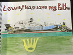 CORRECTS NAME  This undated photo supplied by Sayed ahmed Alwadaei, Director of the Bahrain Institute for Rights and Democracy (BIRD), shows a drawing by Ahmed, of Formula One champion Lewis Hamilton's racing car, with his appeal for help in saving his father from execution. The 11-year old Ahmed is son of a Bahraini man on death row and at risk of imminent execution in Bahrain. BIRD has received letters from alleged torture victims in Bahrain, with pleas for seven-time F1 champion Hamilton to help political prisoners in Bahrain. (Photo by mother of Ahmed/BIRD via AP)