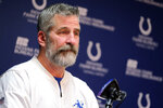 Indianapolis Colts head coach Frank Reich speaks during a news conference at the NFL team's facility in Indianapolis, Sunday, Jan. 13, 2019. The team ended their season with a loss to Kansas City in a playoff game the day before. (AP Photo/AJ Mast)