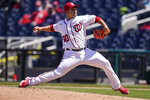 Washington Nationals starting pitcher Paolo Espino throws during the fifth inning of a baseball game against the Arizona Diamondbacks at Nationals Park, Sunday, April 18, 2021, in Washington. (AP Photo/Alex Brandon)