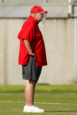 Kansas City Chiefs head coach Andy Reid watches during an NFL football training camp practice Monday, Aug. 24, 2020, in Kansas City, Mo. (AP Photo/Charlie Riedel)