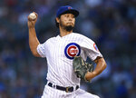 Chicago Cubs starter Yu Darvish delivers a pitch during the first inning of the team's baseball game against the San Francisco Giants on Wednesday, Aug 21, 2019, in Chicago. (AP Photo/Paul Beaty)