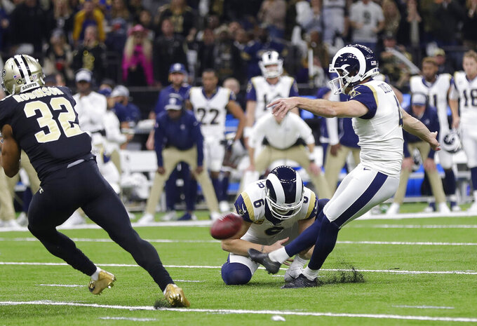 Los Angeles Rams' Greg Zuerlein makes a field goal during the second half of the NFL football NFC championship game against the New Orleans Saints, Sunday, Jan. 20, 2019, in New Orleans. (AP Photo/Gerald Herbert)